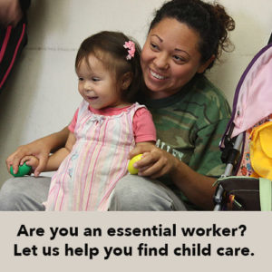 Help for essential workers needing child care.